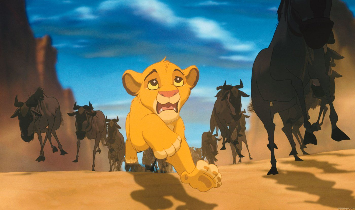 Simba in peril during The Lion King
