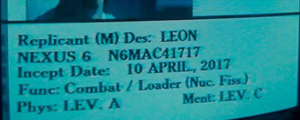 Leon Kowalski's Incept Date - Credit: Warner Bros.