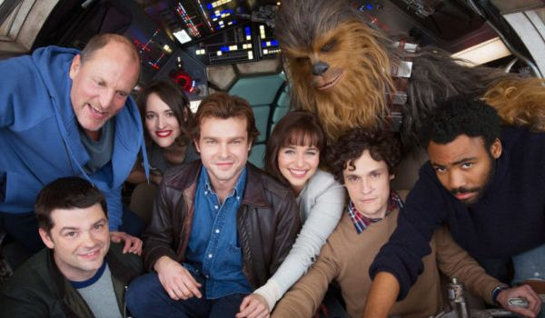 Alden Ehrenreich and the Solo crew alognside former directors Phil Lord and Christopher Miller (Credit: Lucasfilm)