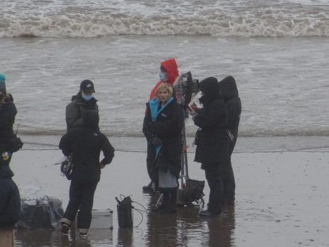 Doctor Who Weeping Angels filming at Barry Island
